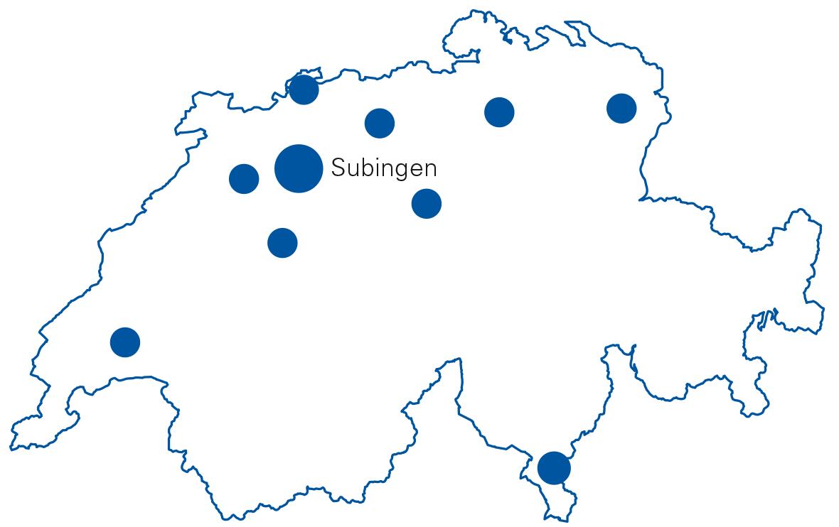 Karte mit Standorten von Stampfli